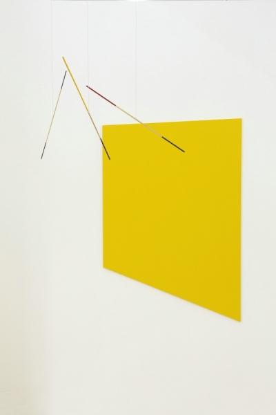 刘卜华, 无题(黄), 木, 漆, 棉绳, 尺寸可变, 2015